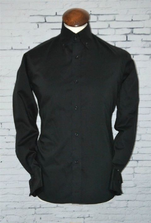 """Ben"" Jet Black Long Sleeve Button Down Collar Shirt"
